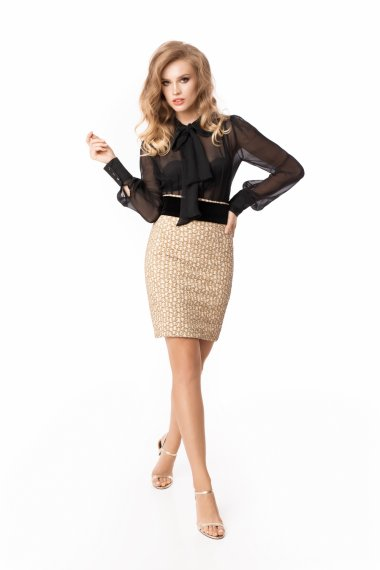 PENCIL SKIRT WITH VELVET BELT