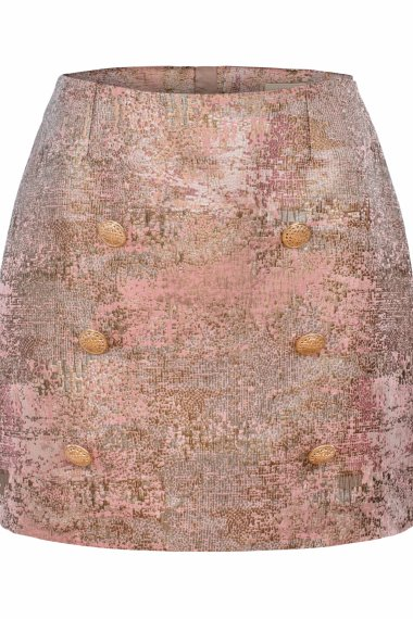 JACQUARD SKIRT WITH DECORATIVE GOLD BUTTONS