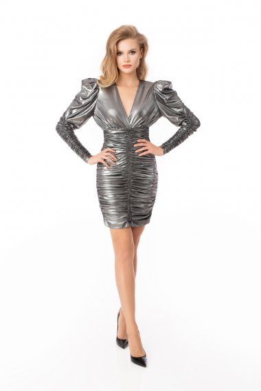 PUFF SLEEVE METALLIC EFFECT DRESS